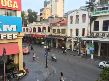 View from the shaded patio at CộngCà Phê