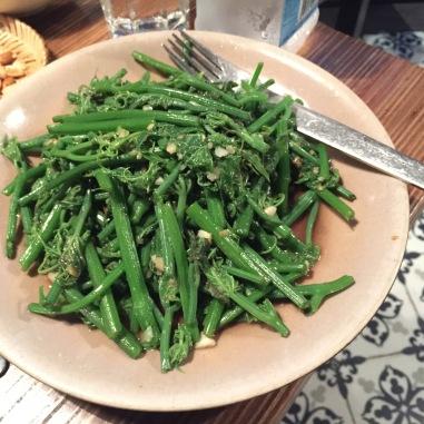 Stir fry sayote (chayote) leaves and stem