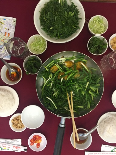 Chả Cá is enjoyed with rice noodles, peanuts, fresh herbs, chilli and fish sauce.