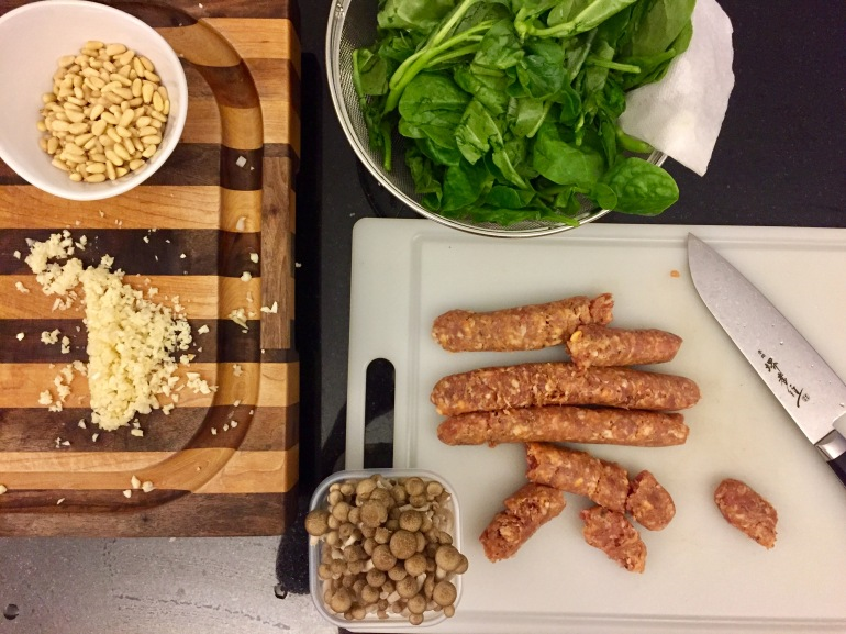 Creamy Spicy Italian Sausage, Mushroom and Spinach Pasta